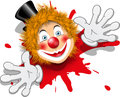 Illustration redheaded clown face black hat Stock Photo