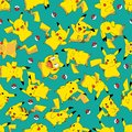 Redraw redesign Pokemon Pikachu ball rotate seamless pattern