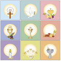 Illustration of religion icons isolated Royalty Free Stock Images