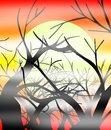 Illustration representing the sun going down on on some bare trees and surrounded by fog Royalty Free Stock Image