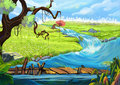 Illustration: The Riverside. Tree, Flowery Fields, and Bridge. Royalty Free Stock Photo