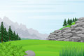 Illustration of Rocky Hill, Field, Forest and Mountains View.Vector illustration. Royalty Free Stock Photo