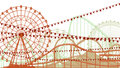 Illustration of roller coaster and ferris wheel horizontal from amusement park Stock Photo