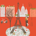 Illustration of romantic scene from Paris, France Stock Image