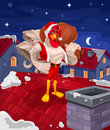 illustration of a rooster - Santa Claus