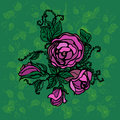 Illustration Of Roses On A Gre...