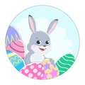 Illustration of a round shape with a picture of a rabbit and colored Easter eggs.