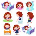 Daily routine activities for kids with cute girl Royalty Free Stock Photo