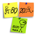 Illustration of 80/20 rule on a colorful notes.