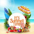 It`s summer time banner design with white circle for text and beach elements in sand beach background Royalty Free Stock Photo