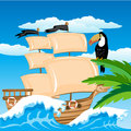 Illustration sailing schooner tropical coast Royalty Free Stock Photo