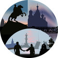 Illustration with saint petersburg views in round Stock Photo