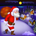 Illustration of Santa Claus coming with gifts to the snowy town Royalty Free Stock Photo