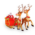 Illustration of santa claus is with his sleigh and Royalty Free Stock Images