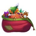 Illustration: Santa Claus Lost his Gift Bag. Royalty Free Stock Photo