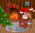 Illustration of Santa home Stock Photography
