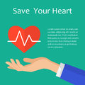 Illustration of save heart with heartbeat concept. Medical icon.