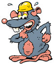Illustration of an scared Rat with yellow Helmet Royalty Free Stock Photo