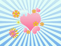 Illustration with scene heart and flowers Royalty Free Stock Images