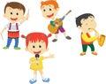 Illustration of school children playing musical instruments