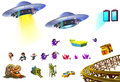 Illustration: Science Fiction Elements Set 5. UFO, Little Hero, Portal, Mine, Gem Cluster etc. Royalty Free Stock Photo