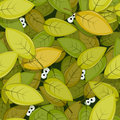 Illustration of a seamless green leaves background with funny cartoon creatures animal eyes staring for nature forest wallpaper Stock Image