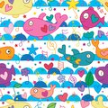 Whale big fish music note seamless pattern Royalty Free Stock Photo