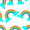Seamless pattern cute rainbow children illustration print on fabric wallpaper on the wall textile cards scrapbooking