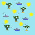 Illustration of seamless pattern elements of leisure and travel