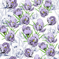 Illustration of seamless pattern First Snowdrops Galanthus Flowers. Spring background, wallpaper and printable