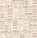 Illustration of seamless pattern with old buildings Royalty Free Stock Photography