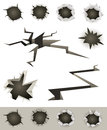 Bullet Holes, Cracks And Slashes Set Royalty Free Stock Images