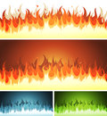 Illustration of a set of cartoon blaze fire elements and flames patterns or shapes burning for hell volcano background Royalty Free Stock Photo