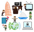 Illustration Set of Cartoon Travel and Communication Concept