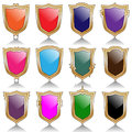 Illustration of set of colorful shields as a symbol of protection Stock Photos