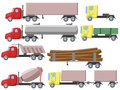 Illustration of set of different trucks cartoon Royalty Free Stock Photos