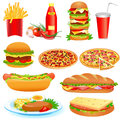 Illustration set fast food ketchup pitsey Stock Photos