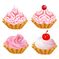 Illustration set pink cake Stock Image