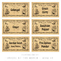 Illustration set with six spice labels asia Royalty Free Stock Photography