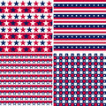 Illustration set stars stripes usa colors seamless pattern Stock Photography
