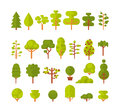 Illustration of a set trees and shrubs on white background in flat style