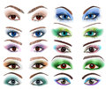 Illustration set women s eyes different makeup Royalty Free Stock Photography