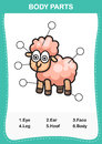 Illustration of sheep vocabulary part of body