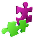 Illustration of shiny jigsaw puzzle pieces icon an Stock Photography