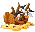 Illustration of shipwreck Royalty Free Stock Photo