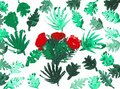 Green Palm Leaves with a Cactus with a Red Blossom, Print Royalty Free Stock Photo