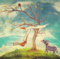 Illustration shows romantic relations giraffe zebra Royalty Free Stock Photos