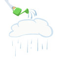 Illustration of silhouette cloud and watering can Royalty Free Stock Photo