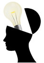 Illustration silhouette open head lightbulb Royalty Free Stock Photo