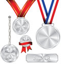 Illustration Of Silver Medal Stock Photography